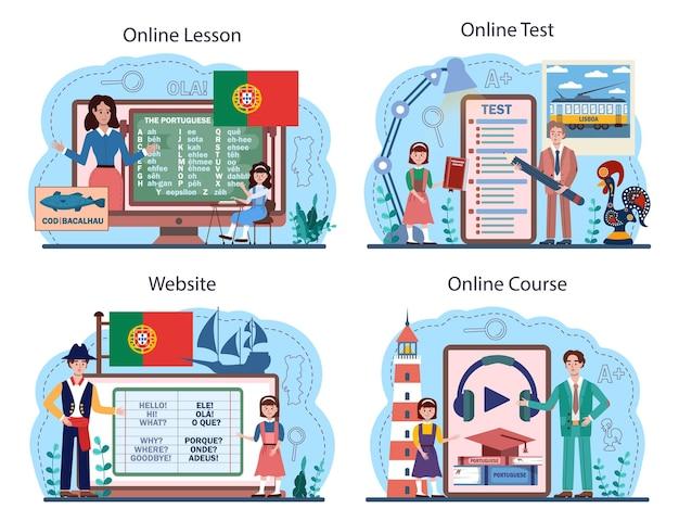Набор онлайн-сервисов или платформ для изучения португальского языка. курс языковой школы. изучай иностранный язык с носителем языка. онлайн-урок, тест, курс, сайт. плоские векторные иллюстрации