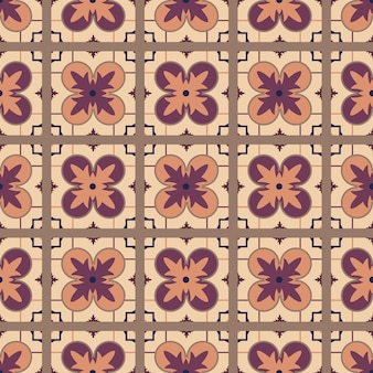 Portuguese tile pattern vector seamless with old ornaments.