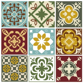 Portuguese tiling vector patterns. old mediterranean tile prints