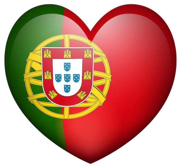 Portugul flag in heart shape