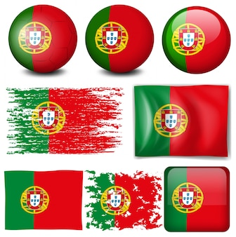 Bandiera portoghese su molti elementi illustrazione