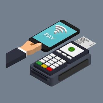Pos端末は、トレンディなアイソメトリックスタイルでスマートフォンによる支払いを確認します。 nfcの支払いの概念。モバイルおよび非接触型決済。有料パスの概念。
