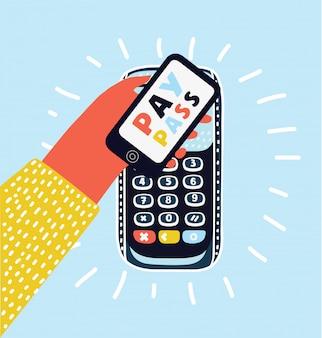 Pos端末はスマートフォンで支払いを確認します。緑の背景にフラットなデザインのイラスト。 nfcの支払いの概念