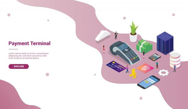 Концепция платежного терминала pos с людьми команды и бизнесом технологии кредитных карт для шаблона веб-сайта или целевой страницы с изометрическим современным стилем