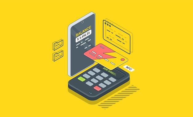位置、決済端末アイコン、端末は支払いを確認します。