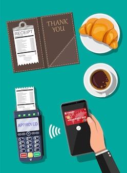 Платежная транзакция через pos-терминал и мобильный смартфон. кожаная папка для кассы, кассового чека, кофе, торта. беспроводные, бесконтактные или безналичные платежи, rfid nfc. векторная иллюстрация в плоском стиле