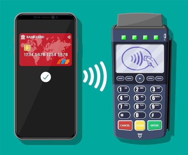 Платежная транзакция через pos-терминал и мобильный смартфон. беспроводные, бесконтактные или безналичные платежи, rfid nfc. векторная иллюстрация в плоском стиле