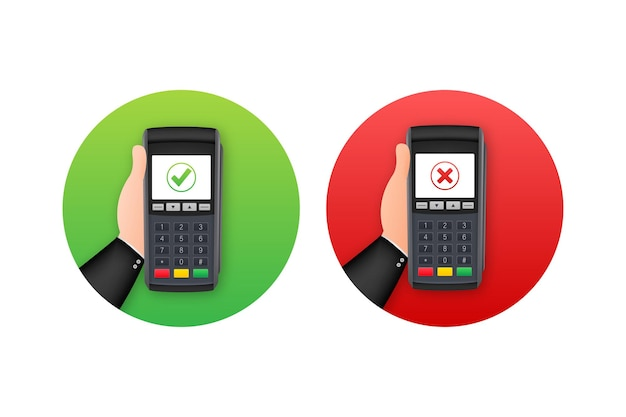 Pos terminal. approved and rejected payment. vector stock illustration