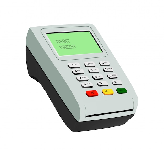 Pos terminal closeup isolated object