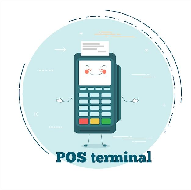 Концепция pos-терминала в стиле лайн-арт