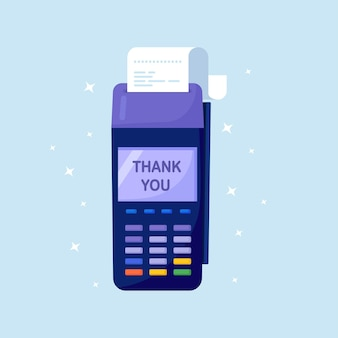 Pos terminal confirms the payment by debit credit card, invoice. bank transaction. nfc payments with pay receipt