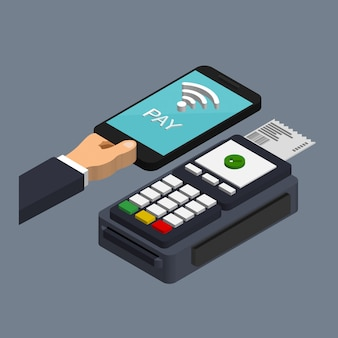 Pos 터미널은 최신 유행 아이소 메트릭 스타일로 스마트 폰으로 결제를 확인합니다. nfc 결제 개념. 모바일 및 비접촉식 결제. 지불 패스 개념.