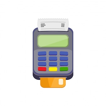 Pos terminal or credit card terminal with cradit card.