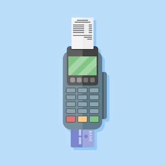 Pos terminal in flat style. payment terminal. credit card machine.   illustration.
