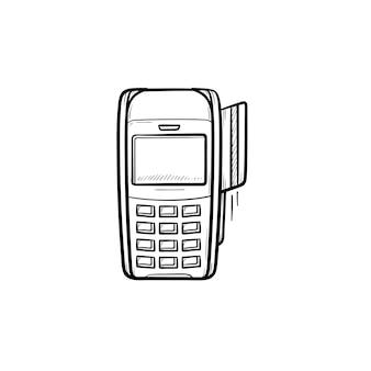 은행 카드 손으로 그린 개요 낙서 아이콘에 대한 pos 터미널. 신용 카드 기계, 지불, 구매, 상점 개념. 인쇄, 웹, 모바일 및 흰색 배경에 인포 그래픽에 대한 벡터 스케치 그림.