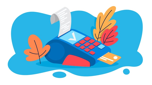 Pos terminal for payment by credit card. idea of bank and shopping. device for debit card.   illustration Premium Vector