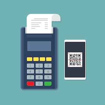 Pos terminal payment by smartphone qr code scan. Premium Vector