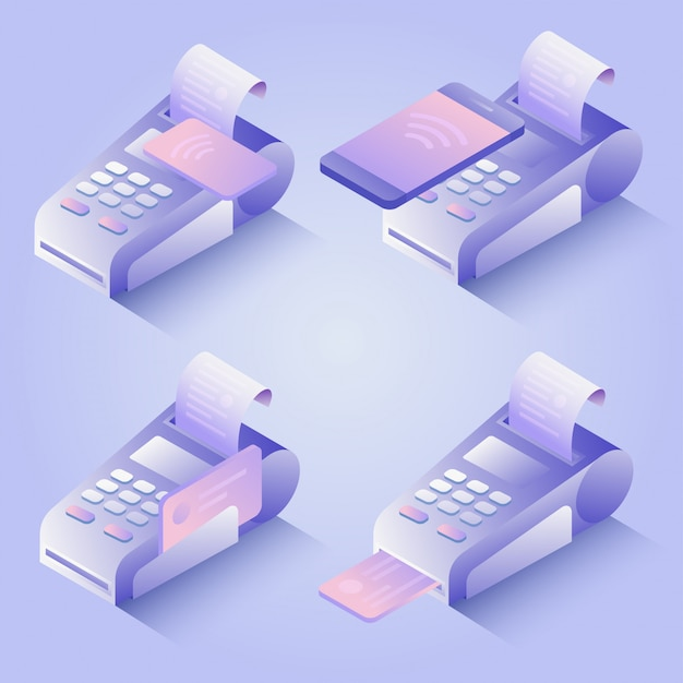 Pos terminal payment methods, online payment. confirms the payment by credit card, mobile phone. isometric nfc payment concept in flat design. illustration