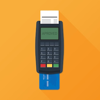 Pos terminal. payment terminal with receipt. banking and business services. vector illustration
