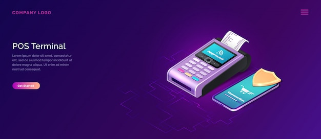 Pos terminal security banner, isometric business concept