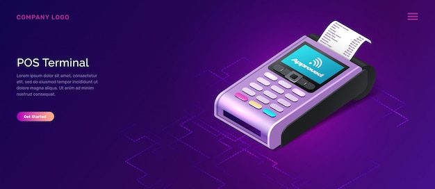 Pos terminal security, isometric business concept