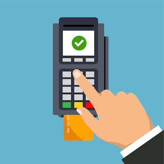 Pos terminal usage. hand pushing credit or debit card into the pos machine slot. payment by credit card and entered pin. illustration. isolated.