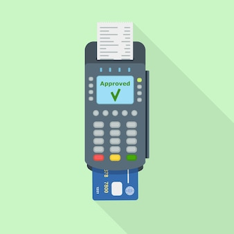 Pos terminal with receipt isolated on green