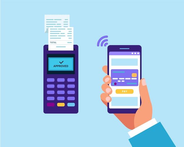Мобильный платеж через смартфон. pos-терминал и рука, держащая смартфон для оплаты