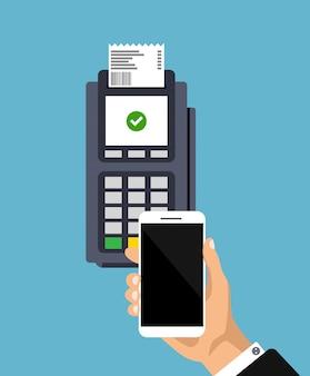 Концепция бесконтактных платежей. плоский дизайн pos-терминала с квитанцией