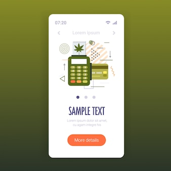 Pos терминал и продажа кредитных карт медицинской марихуаны концепция потребления наркотиков экран смартфона онлайн мобильное приложение копирование пространства