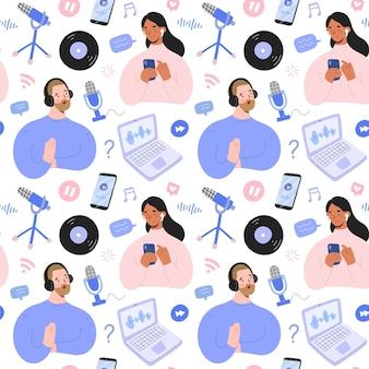 男性と女性とデバイスのポッドキャストパターン