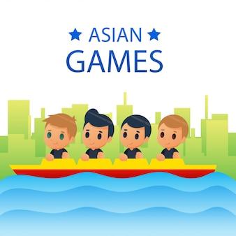 アジアのゲームのベクトルイラストのプレーヤーのポーズ
