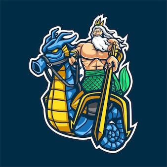 Poseidon cartoon mascot for esport