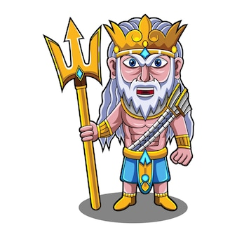 Poseidon chibi mascot logo with trident weapon