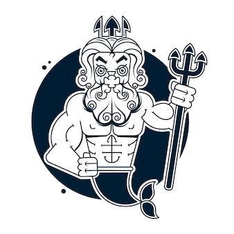 Poseidon clip art or logo, vector art illustration