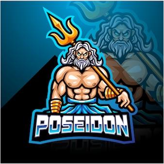 Дизайн логотипа талисмана poseidon esport с оружием трезубца