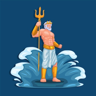 海と水のポセイドン神フィギュアキャラクター。古代ギリシャ神話イラストベクトル