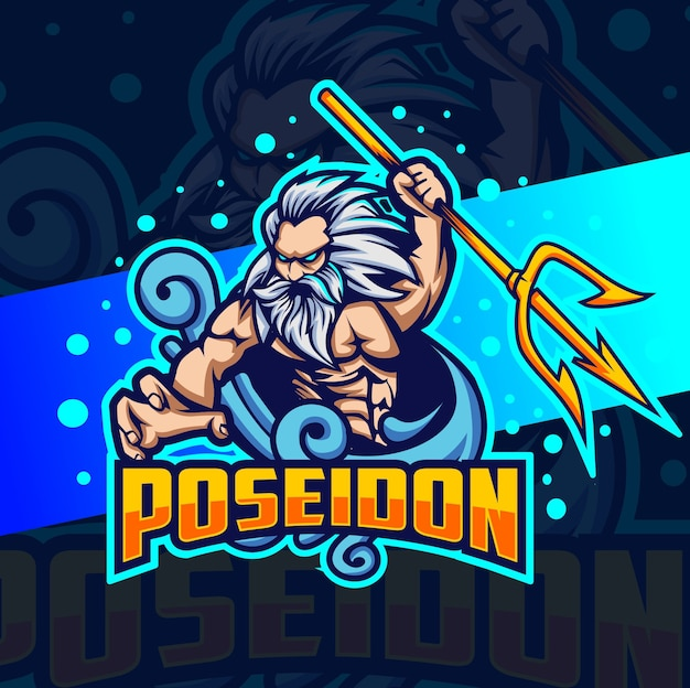Poseidon god of sea mascot esport logo design