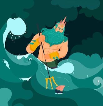 Poseidon greek god of sea with trident cartoon illustration