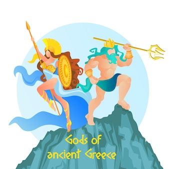 Poseidon lord of ocean and athene goddess of war