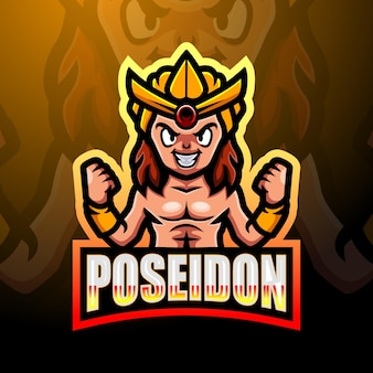 Посейдон талисман киберспорт дизайн логотипа