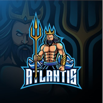 Poseidon mascot logo with trident weapon