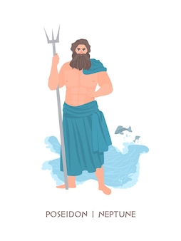 Poseidon or neptune - olympian god or deity of sea and seafare from ancient greek and roman religion and myth. male mythological character with beard and trident. flat cartoon vector illustration.