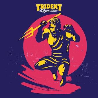 Poseidon or neptune throw a trident