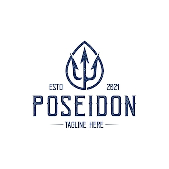 Шаблон логотипа poseidon trident vintage, изолированные на белом