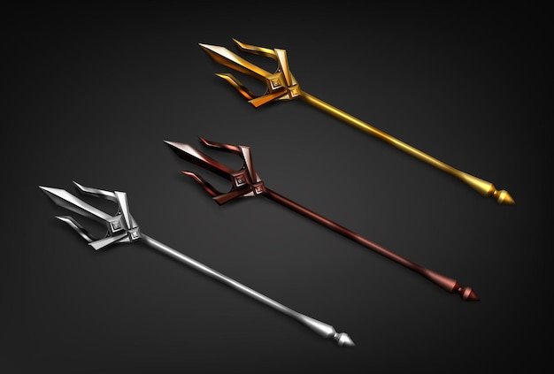 Poseidon tridents in gold silver and bronze colors