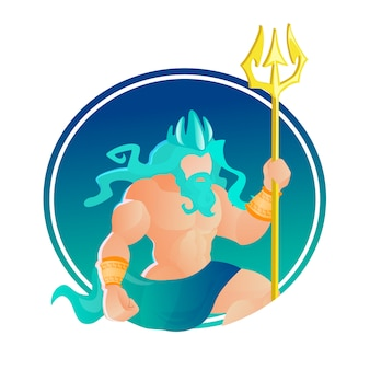 Poseidon wearing crown and trident. god of sea