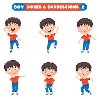 Позы и выражения забавного мальчика Premium векторы
