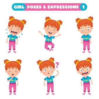 Позы и выражения забавной девочки