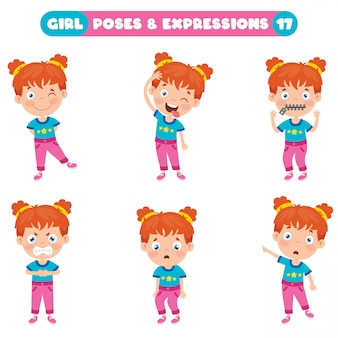 Poses and expressions of a funny girl